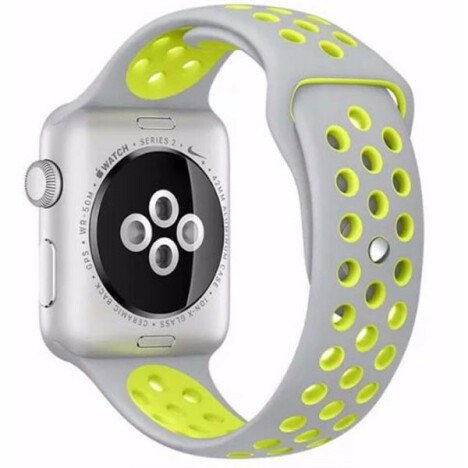 Curea iUni compatibila cu Apple Watch 1/2/3/4/5/6, 44mm, Silicon Sport, Argintiu/Galben
